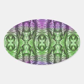 Lavender Mint Organic Wing Pattern Oval Sticker