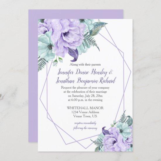 Lavender Mint Purple Geometric Watercolor Peonies Invitation