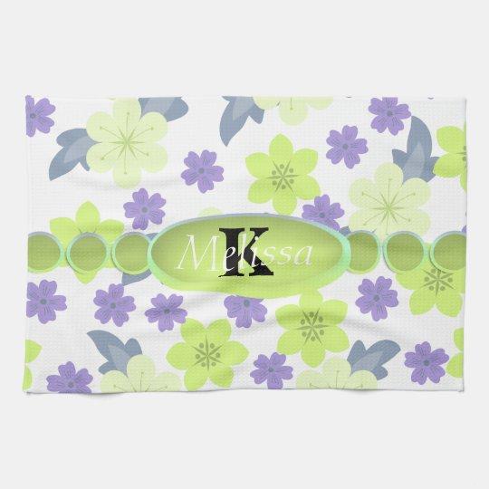 Lavender Mint Spring Flowers Monogram Kitchen Towel