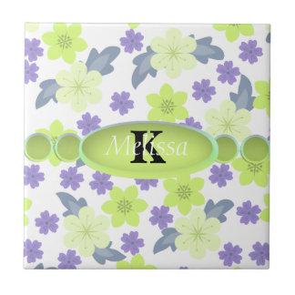 Lavender Mint Spring Flowers Monogram Tile