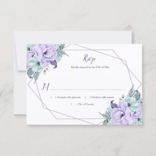 Lavender Mint Watercolor Peonies Geometric RSVP