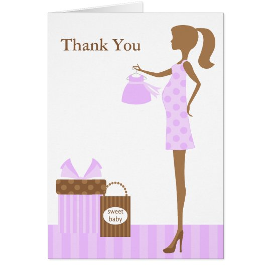 Lavender Mom To Be Baby Shower Thank You Card
