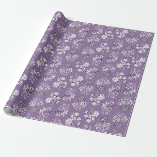 Lavender Monochrome Floral Wrapping Paper