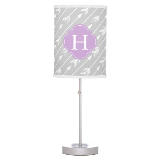 Lavender Monogrammed Arrows Pattern Table Lamp