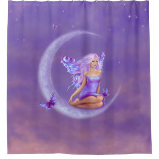 Lavender Moon Butterfly Fairy Shower Curtain