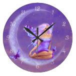 Lavender Moon Fairy Wall Clock