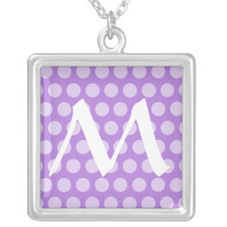 Lavender Moroccan Dots with monogram Silver Plated Necklace