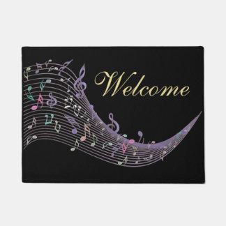 Lavender Music Notes Design Black Welcome Mat