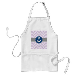 Lavender Nautical Anchor Chevron Adult Apron