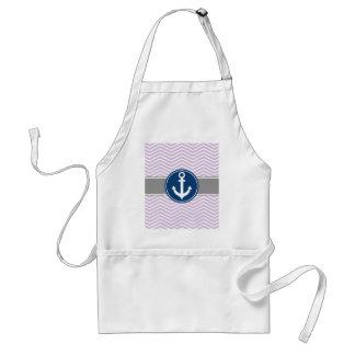 Lavender Nautical Anchor Chevron Adult Apron
