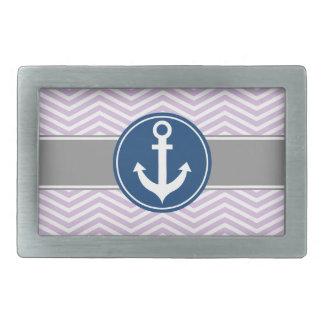 Lavender Nautical Anchor Chevron Belt Buckle