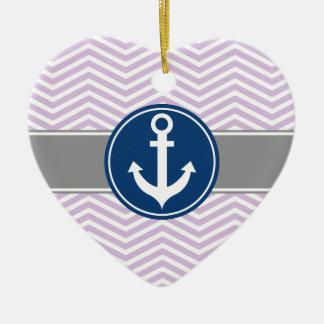 Lavender Nautical Anchor Chevron Ceramic Ornament