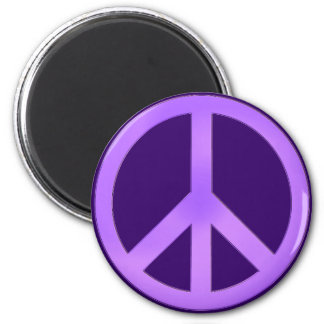 Lavender on Dark Purple Peace Sign 2 Inch Round Magnet