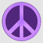 Lavender on Dark Purple Peace Sign Classic Round Sticker