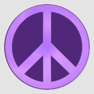 Lavender on Dark Purple Peace Sign Classic Round Sticker
