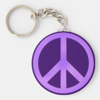 Lavender on Dark Purple Peace Sign Keychain