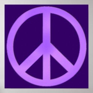 Lavender on Dark Purple Peace Sign Posters