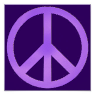 Lavender on Dark Purple Peace Sign Poster