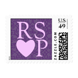 Lavender On Purple Heart RSVP Stamp