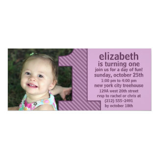 """Lavender One Is Fun Photo First Birthday Party 4"""" X 9.25"""" Invitation Card"""
