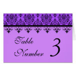 Lavender or Purple Damask Wedding Table Cards Greeting Card