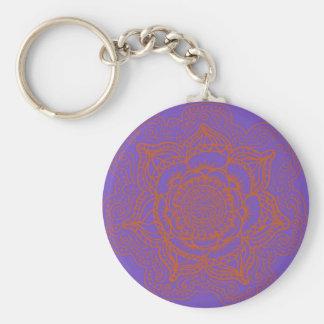 Lavender Orange Mandala Keychain
