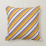 [ Thumbnail: Lavender, Orange & Midnight Blue Colored Pattern Throw Pillow ]