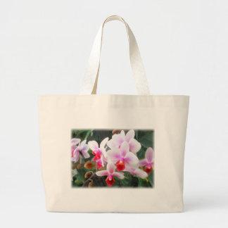 Lavender & Orange Phalaenopsis Orchids Large Tote Bag