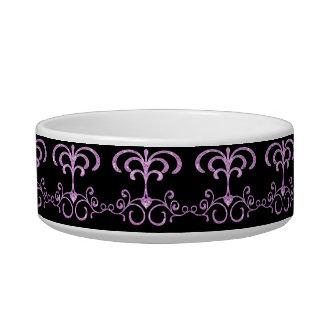 Lavender Orchid Diamond Heart Swirls Pet Water Bowl