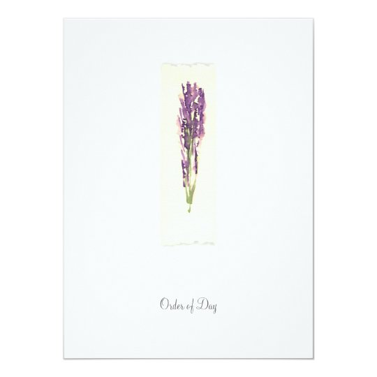 Lavender - Order of Day/Ceremony Card