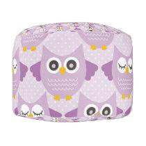 Lavender Owls Pouf