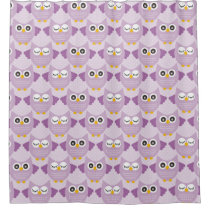 Lavender Owls Shower Curtain