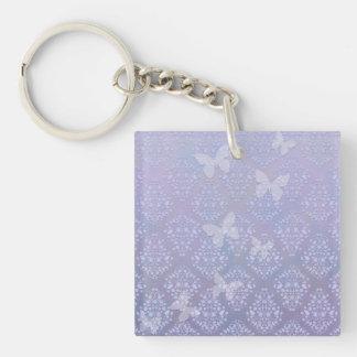 Lavender Pale Blue Butterflies Damask Keychain
