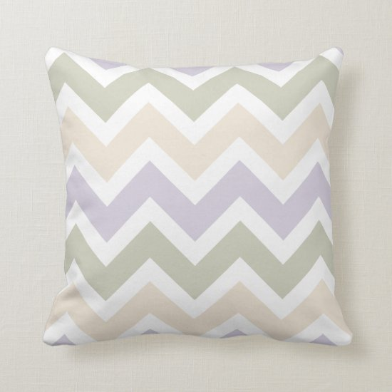 Lavender Pale Green Ivory Chevron Pattern Throw Pillow