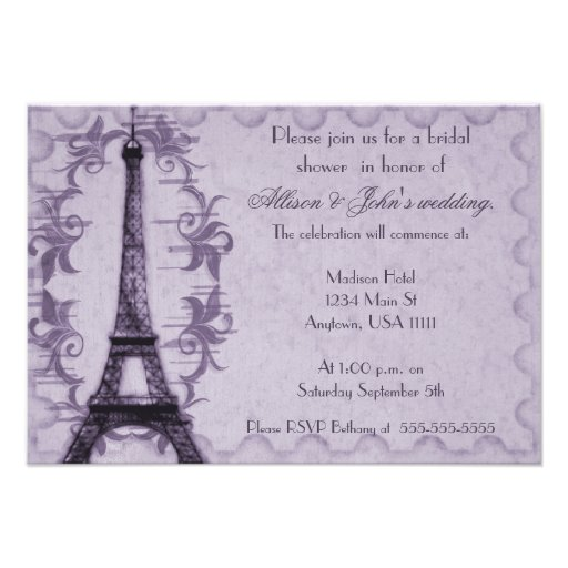 Lavender paris grunge bridal shower invitation 3 5 x 5 for Paris themed invitations bridal shower
