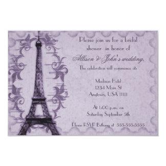Lavender Paris Grunge Bridal Shower Invitation