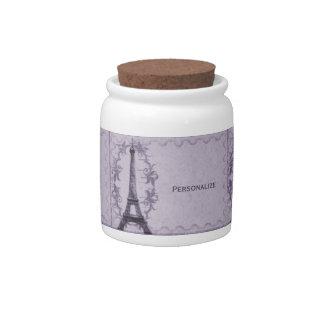 Lavender Paris Grunge Jar Candy Dish