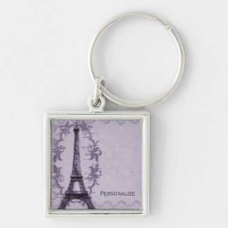 Lavender Paris Grunge Keychain