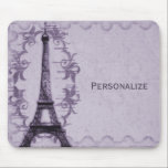 """Lavender Paris Grunge Mousepad<br><div class=""""desc"""">Add an elegant touch to your home office or workspace with this contemporary mousepad design featuring the Eiffel Tower against a grunge swirl and postage stamp background in lavender purple. Customizable text allows you to alter fonts, change text colors and sizes as you wish. Personalize for yourself or makes a...</div>"""