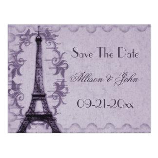Lavender Paris Grunge Save The Date Postcard