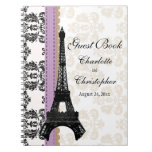 Lavender Parisian Eiffel Tower Wedding Guest Book Note Books