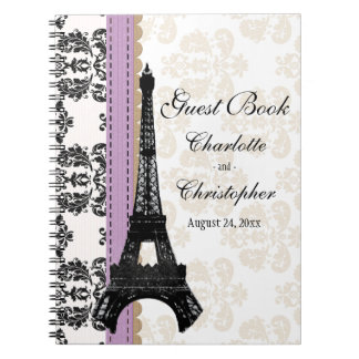Lavender Parisian Eiffel Tower Wedding Guest Book Spiral Notebook