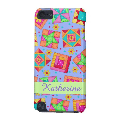 Lavender Patchwork Quilt Art Name Personalized iPod Touch 5G Covers