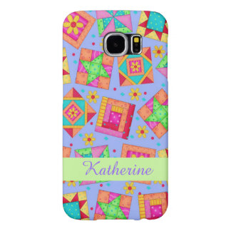 Lavender Patchwork Quilt Art Name Personalized Samsung Galaxy S6 Cases