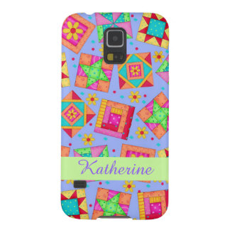 Lavender Patchwork Quilt Art Name Personalized Cases For Galaxy S5
