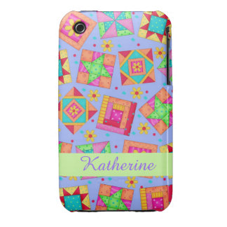 Lavender Patchwork Quilt Art Name Personalized iPhone 3 Cover
