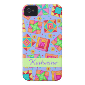 Lavender Patchwork Quilt Art Name Personalized iPhone 4 Case