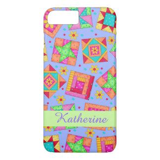 Lavender Patchwork Quilt Art Name Personalized iPhone 8 Plus/7 Plus Case