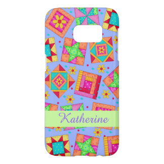 Lavender Patchwork Quilt Art Name Personalized Samsung Galaxy S7 Case