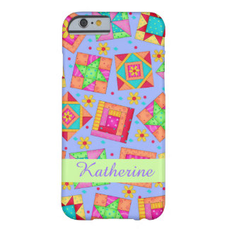 Lavender Patchwork Quilt Art Name PersonalizedShow Barely There iPhone 6 Case